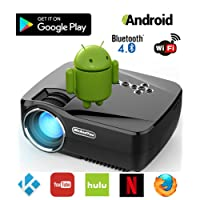 Android, Wi-Fi, Bluetooth Proyector (Aplicación Warranty incluidos), meandyou Mini Pro Portable LED Multimedia Proyector para cine en casa Movie Juegos De Video