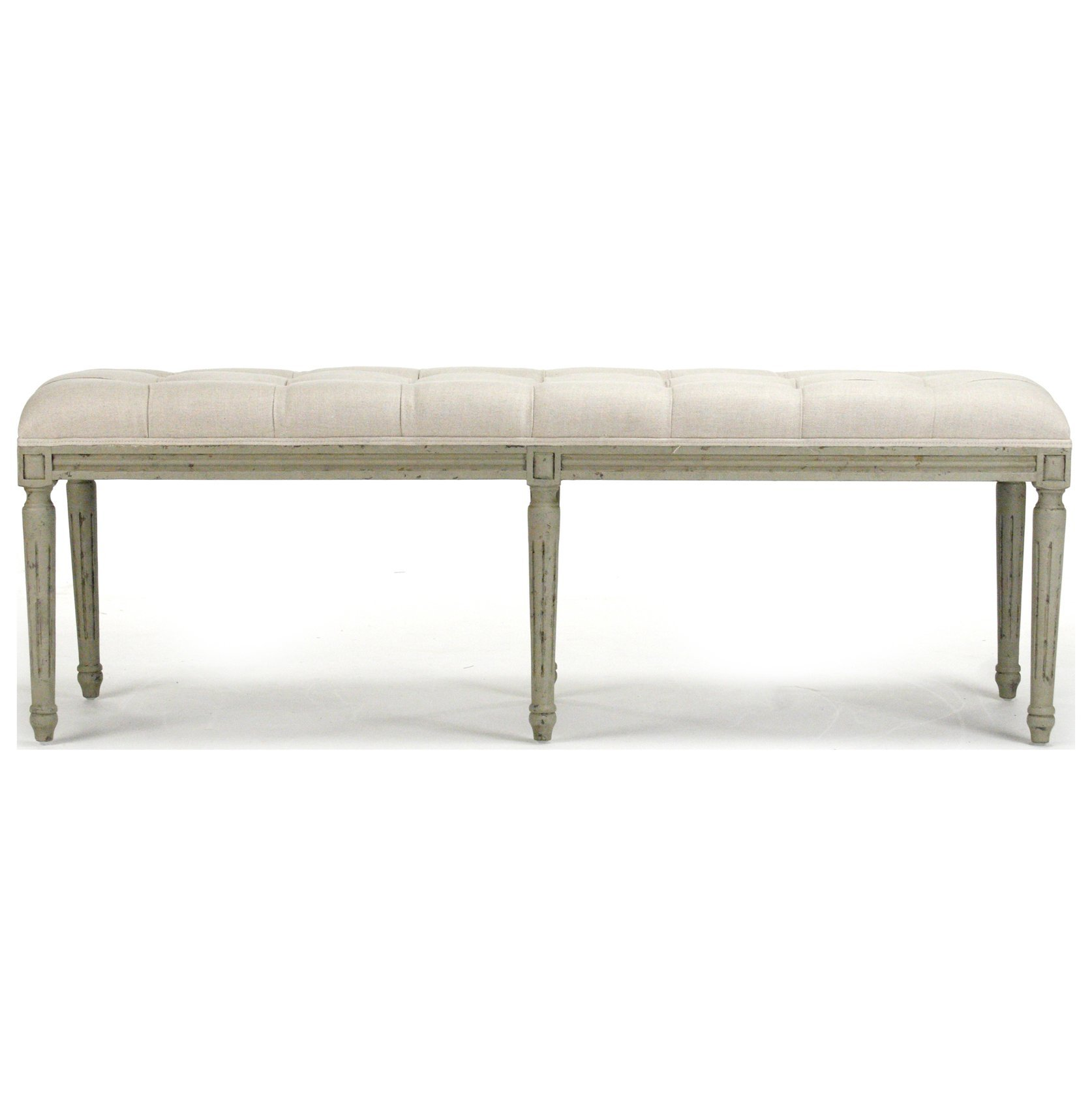 French Country Louis XVI White Tufted Oak Olive Green Long Bench