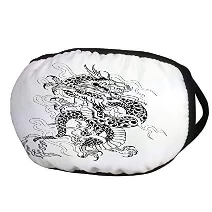 aec74ba87aef5 Fashion Cotton Antidust Face Mouth Mask,Japanese Dragon,Sketch Artwork  Style Ancient Mighty Figure