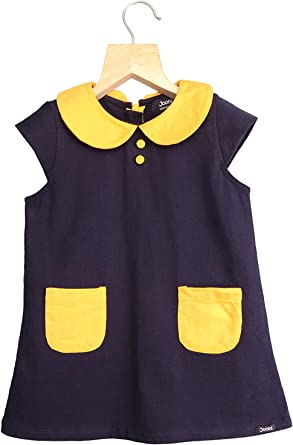 Peter Pan Collar Baby Top, Yellow Toddler Top Mustard Yellow Puppy Print Sleeveless Peter Pan Collar Baby Blouse