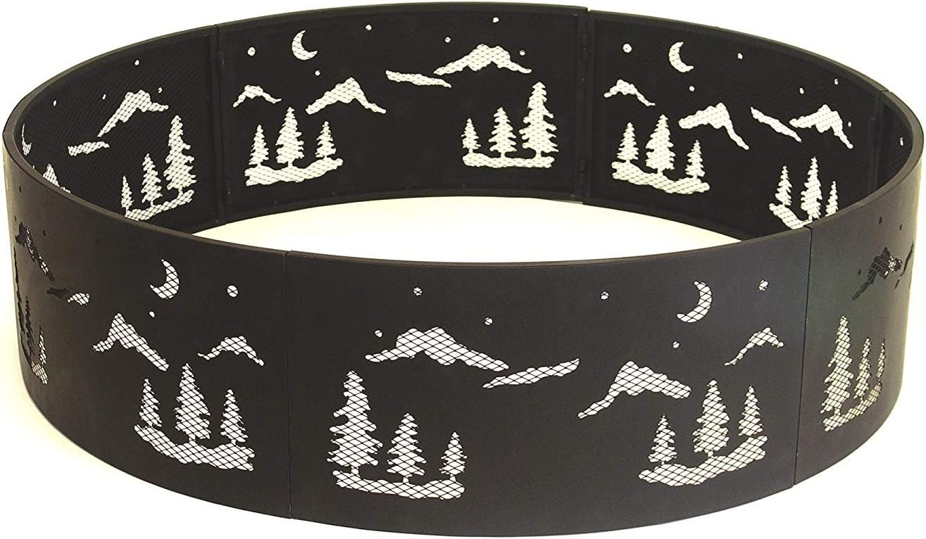 Catalina Creations AD576 Heavy Duty Folding Fire Pit Ring, Black