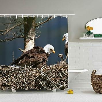 Amazon.com: Mweet Shower Curtain Vintage Animal Eagle Nest ...