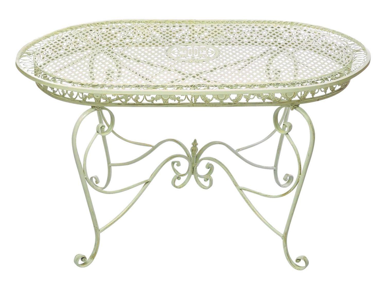 Gartentisch 135cm Eisen Tisch Gartenmöbel creme weiss Antik-Stil ...