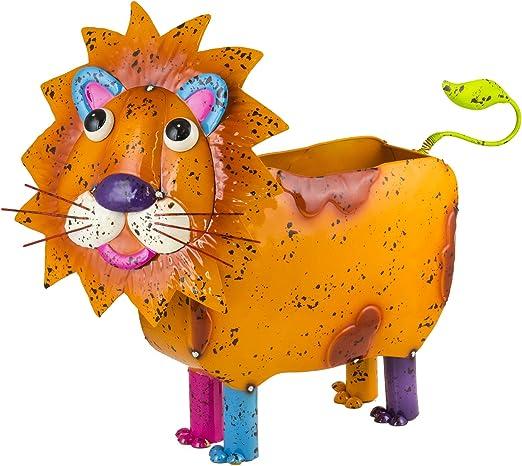 Colorido Metal Leo el león animales jardín maceta/macetero – novedad regalo: Amazon.es: Jardín