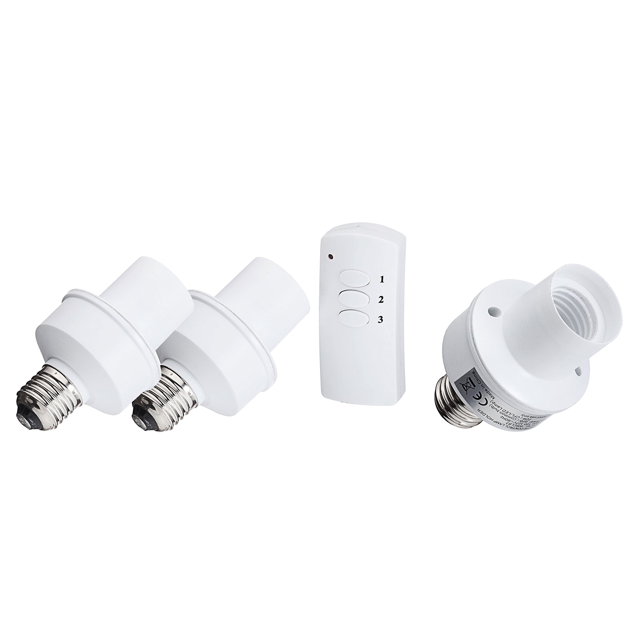 LED Concepts Remote Control Wireless Light Bulb Socket Cap Switch for Lamps Bulbs and Fixtures (Set of 3 Sockets)