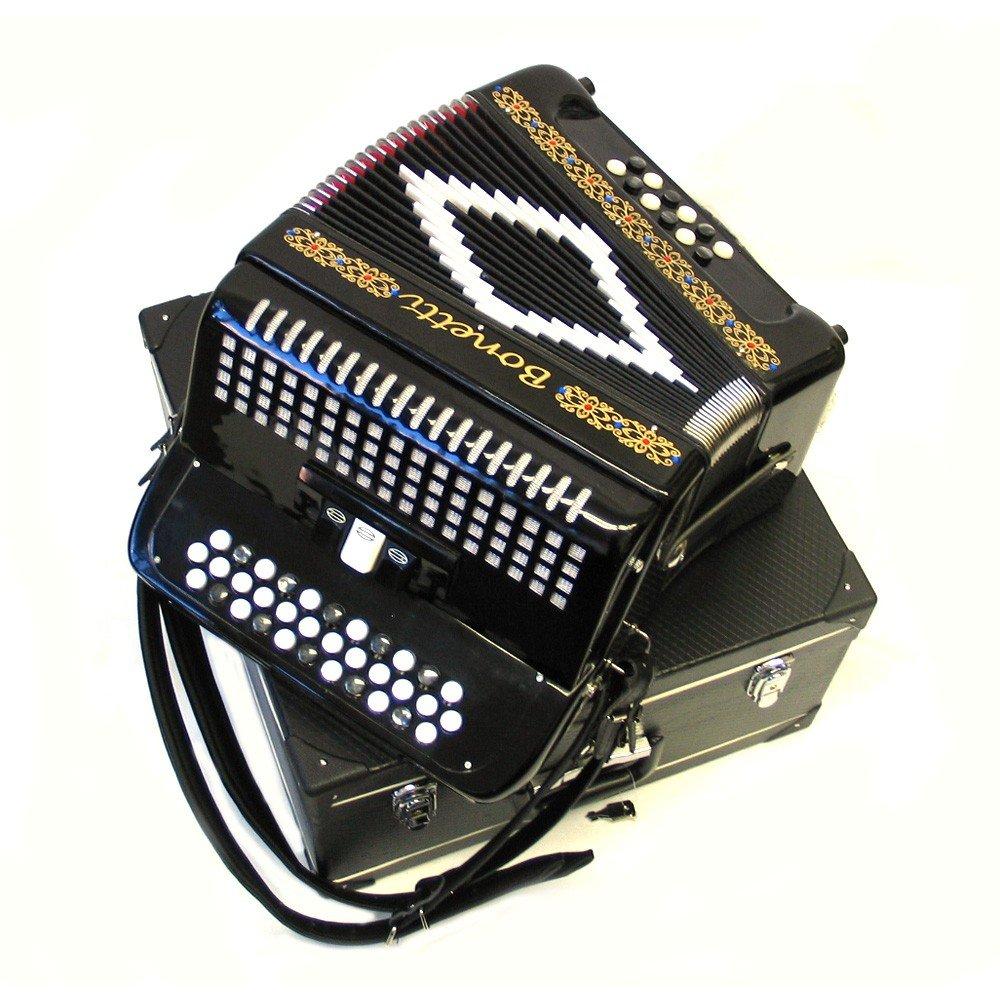 Bonetti Black 3-Switch Diatonic Button Accordion GCF 3412 by Bonetti
