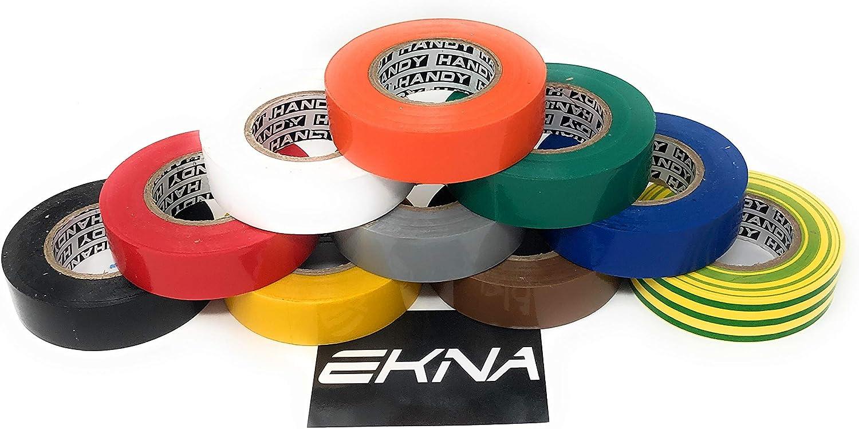 19 mm//20 m Ekna Lot de 9 rubans isolants /électriques