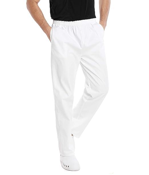 WWOO Pantalones médicos de Hombre Blancos Pantalones de Trabajo Uniformes de Hospital Cintura elástica Material médico Profesional Suelto: Amazon.es: Ropa y ...