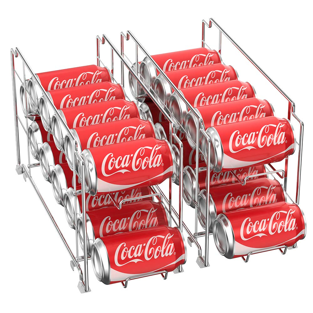 2-Tier Can Organizer Metal Soda and Food Can Dispenser Storage Rack Organizer Shelf for Kitchen Pantry, Countertop, Holds 12 Cans, Plating by NEX