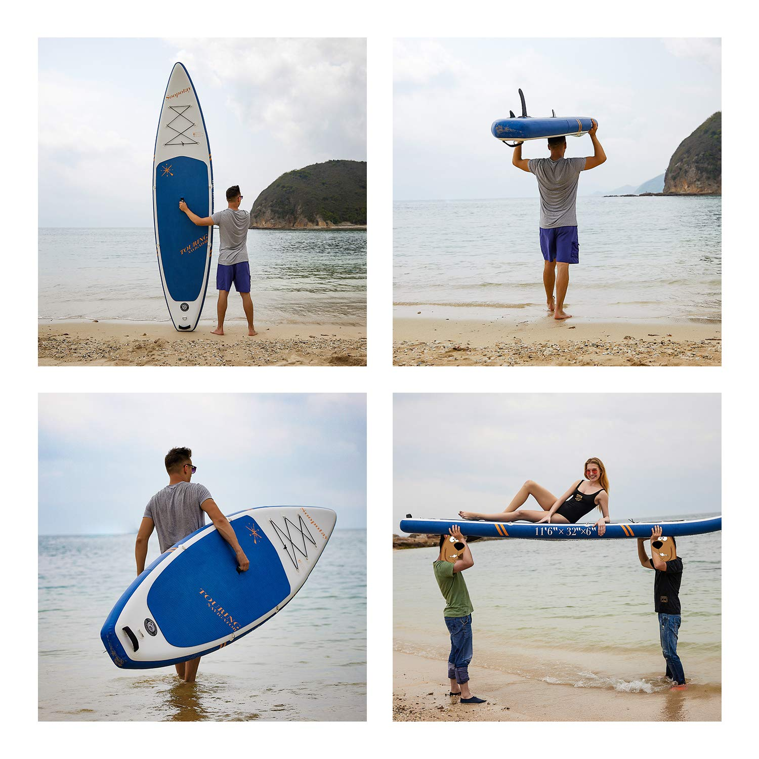 Inflatable SUP Board, Inflatable SUP Kayak, iSUP Package with All Accessories (Touring-Navy Blue-11'6'' x 32'' x 6'') by Soopotay (Image #3)