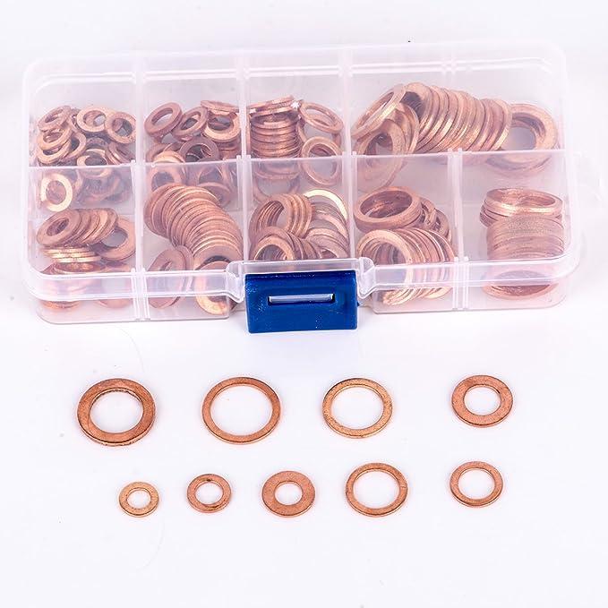 200 Pcs Kupfer Unterlegscheibe Dichtung Flach Legen Ring M5 M14 Mit Aufbewahrungsbox Baumarkt