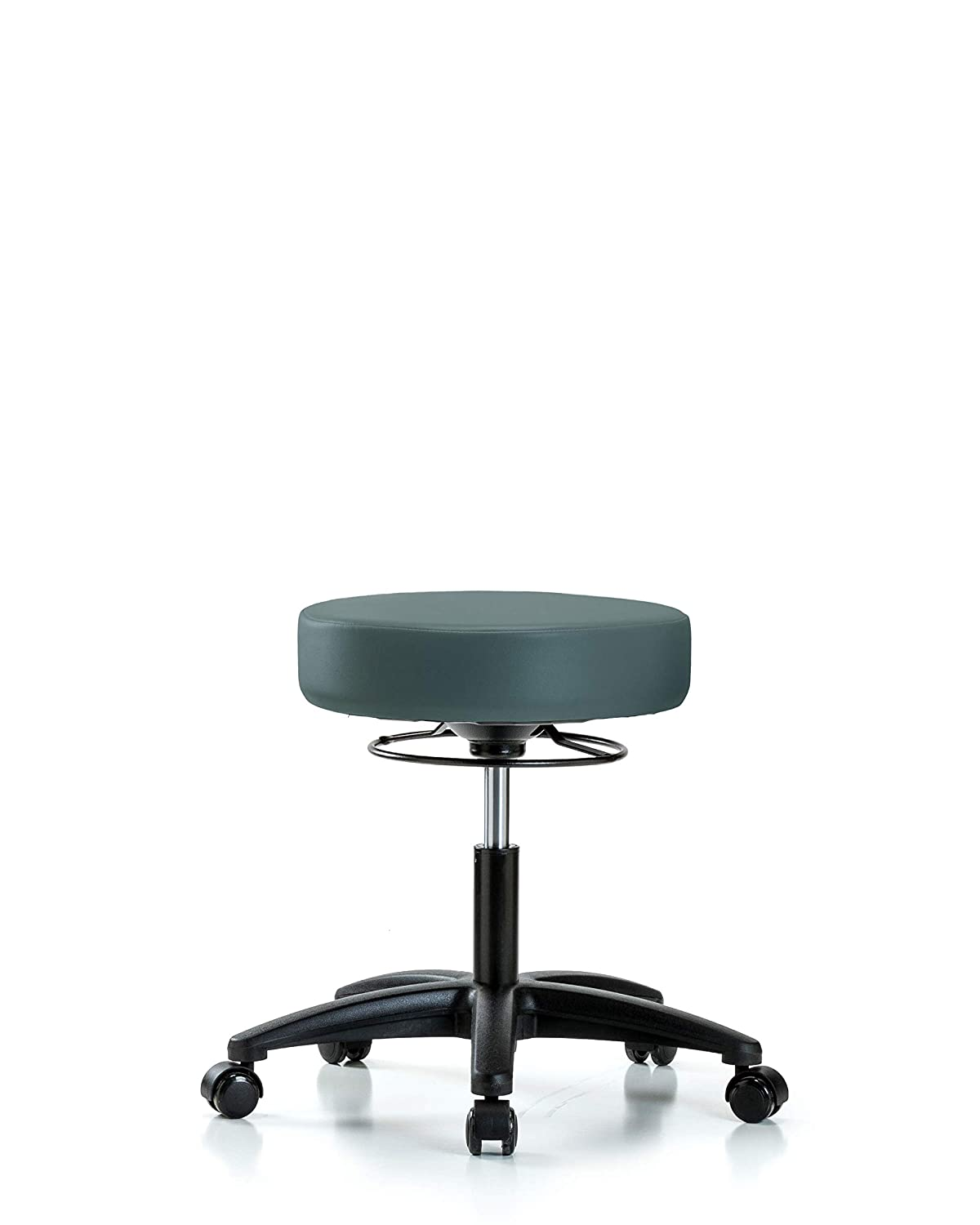 Adjustable Stool for Exam Rooms, Labs, and Dentists with Wheels - Desk Height, Colonial Blue