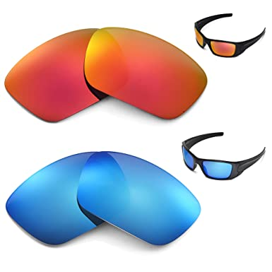 ab8a8e49be Image Unavailable. Image not available for. Color  New Walleva Polarized  Ice Blue + Fire Red Lenses For Oakley Fuel Cell