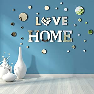 42 Pieces Home Sign Letter Acrylic Mirror Stickers Wall Decor Self Adhesive Acrylic Home Love Circle Removable Wall Decorative Mirror Stickers for Home Wall, Window, Art Background Decoration