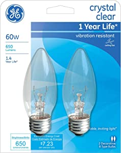 GE Crystal Clear 60 watt Blunt tip 2-Pack 76233
