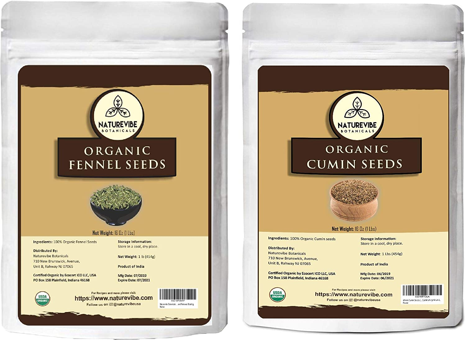 Naturevibe Botanicals Organic Fennel Seed (1lb) and Whole cumin seeds(1lb) combo | Indian Spice| Gluten free & non-Gmo
