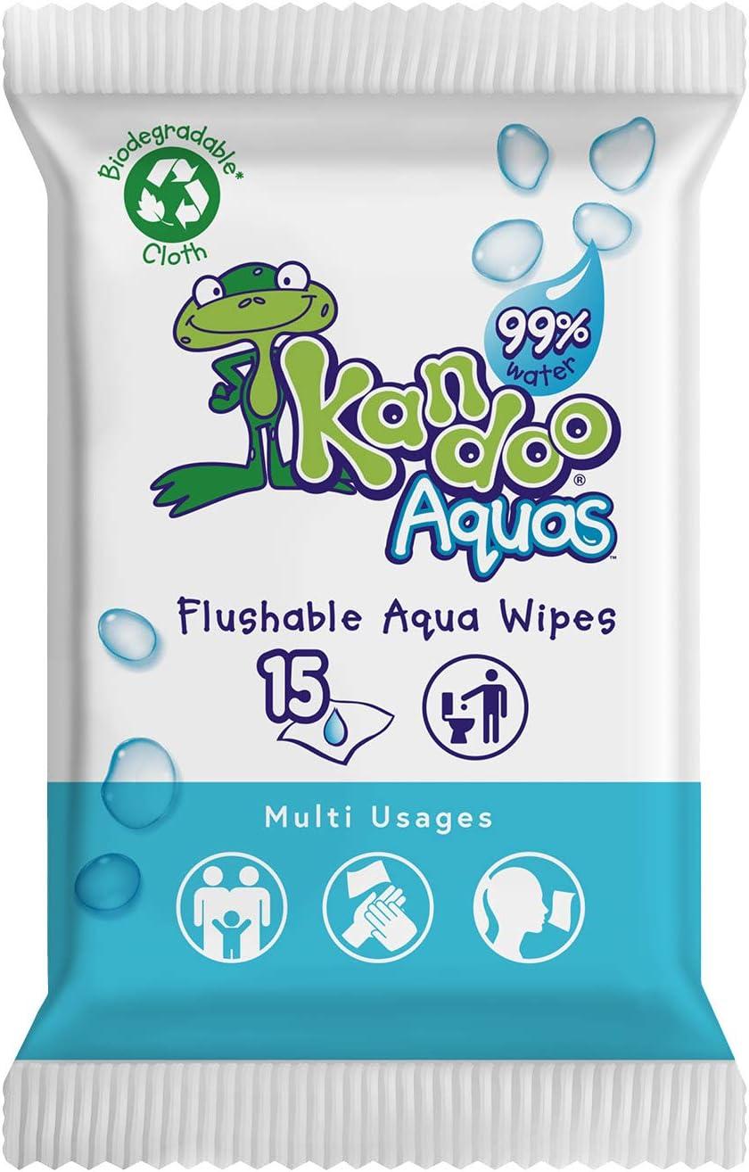 15 Wipes Travel Pack Kandoo Aquas Flushable Wipes Box Of 12