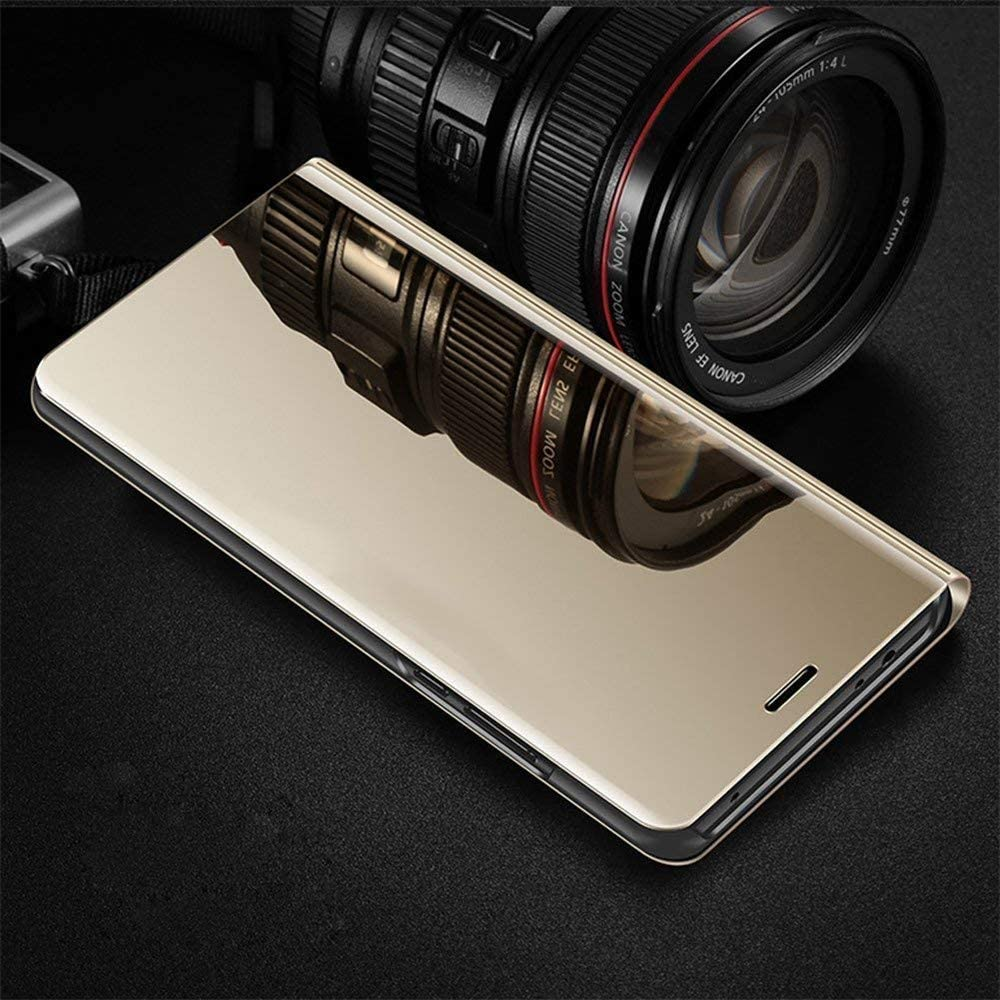 COTDINFOR Compatible with LG Velvet Case Clear View Flip with Kickstand Cover Luxury Makeup Mirror Design Bookstyle Full Body Protection Case for LG Velvet//LG Velvet 5G Black Flip Mirror
