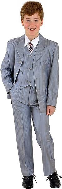 5 teiliger Kinderanzug Kommunionsanzug Babyanzug Taufanzug Anzug Benni silbergrau mit Nadelstreifen Gr.140 146
