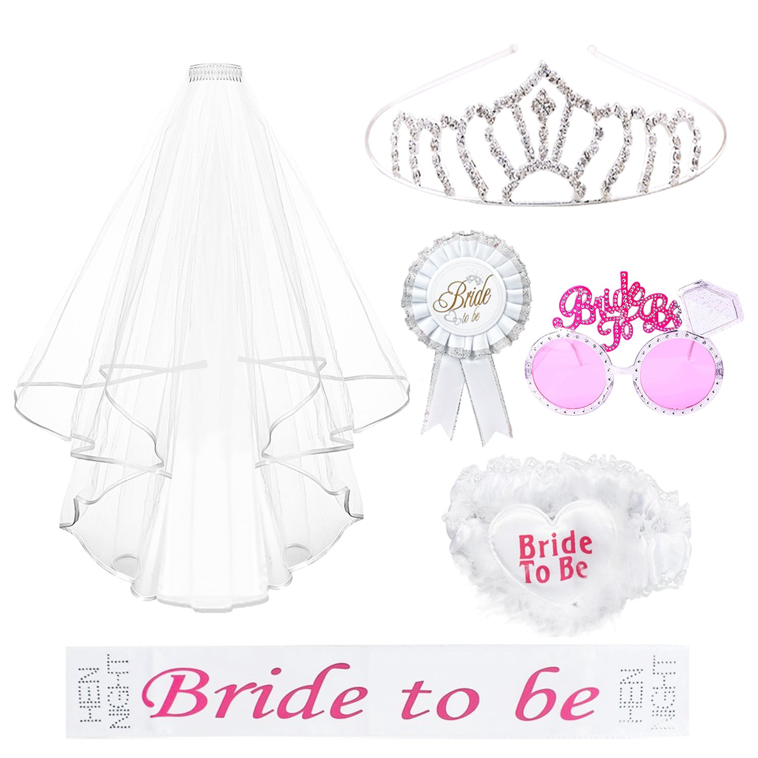 REVEW 6PCS Bride to Be Decorations Kit for Bachelorette Party Including Bride to Be Sash, Bridal Veil, Rosette Badge, Bride to Be Garter, Rhinestone Tiara, Funny Sunglasses Bachelorette Party (White)