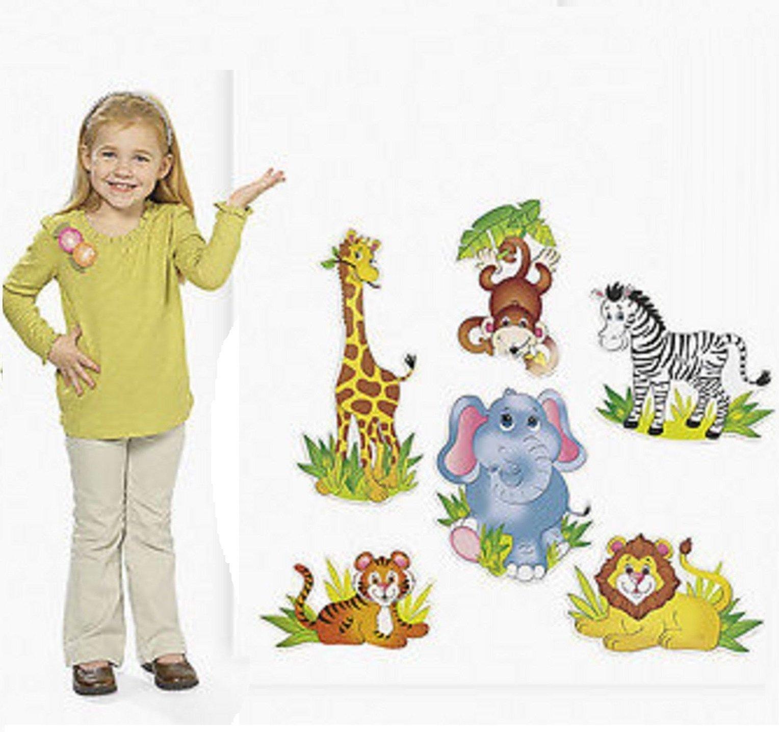 thaisan7, SAFARI zoo ANIMAL CUTOUT DECORATIONS (LOT OF 6) NEW Babys kid children Room, Jungle zoo Birthday Party