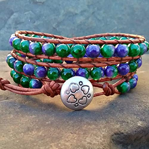 d9ccffb53ce1 Image Unavailable. Image not available for. Color  Purple Green Molted  Beaded Leather Triple Wrap Bracelet ...