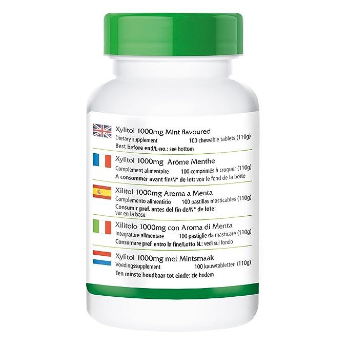 Xilitol 1000mg comprimidos - Bote para 100 días - VEGANO - Altamente dosificado - 100 comprimidos masticables - ¡Calidad Alemana garantizada!: