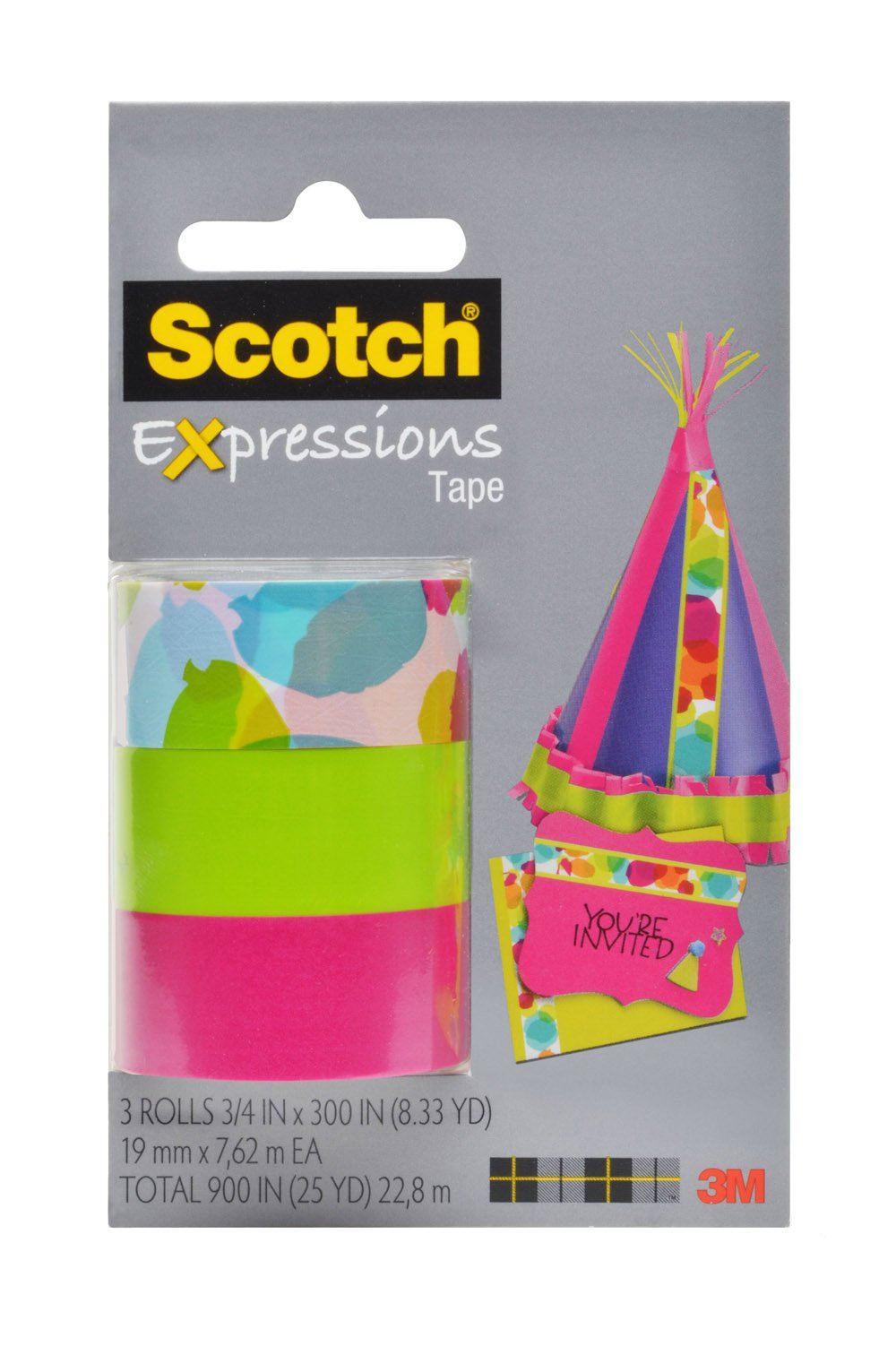 Scotch Expressions Magic Tape/ 3/4 x 300 Inches/ Watercolor/ Pink/ Green/ 3-Rolls/Pack (C214-3PK-8)