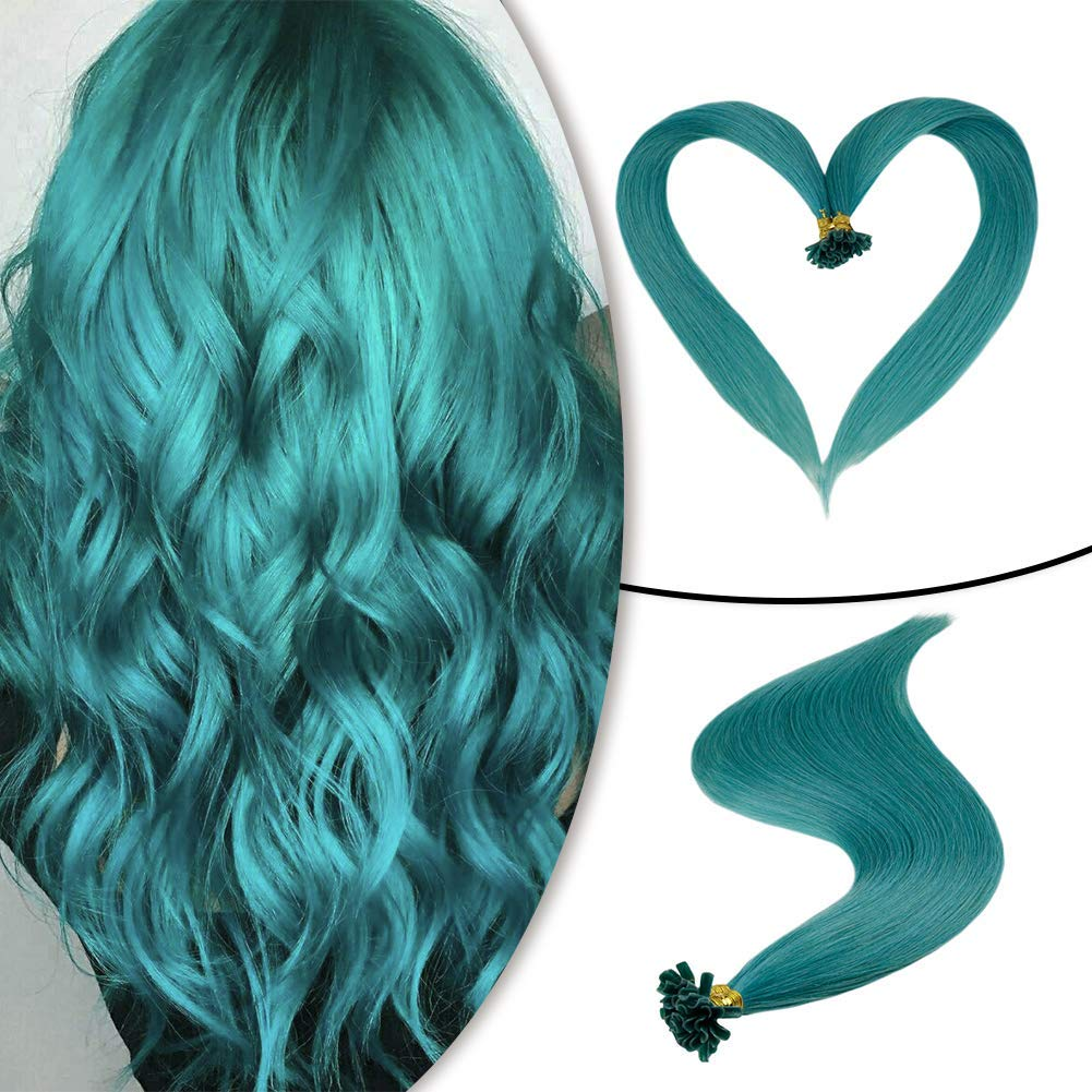 Runature U Tip Hair Extensions 20 Inches Teal Color Human Hair 25g (1g/Strands) 25 Strands Pre Bonded Hair Extensions Human Hair Extensions Pre Bonded Human Hair Extensions by RUNATURE