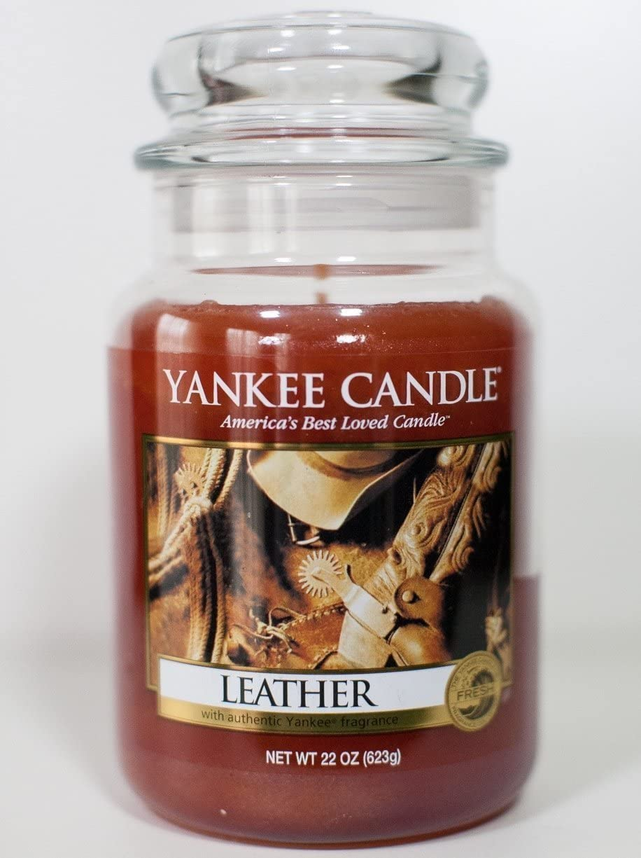 Yankee Candle Large Jar Candle Leather 22 oz Packaging May Vary