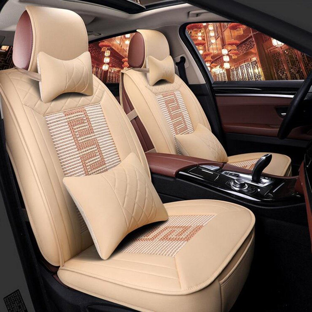 CA Auto Car Seat Covers Headrests Waist Cushions Seat Covers Textile PU Leather for Universal All Years All Models, Beige