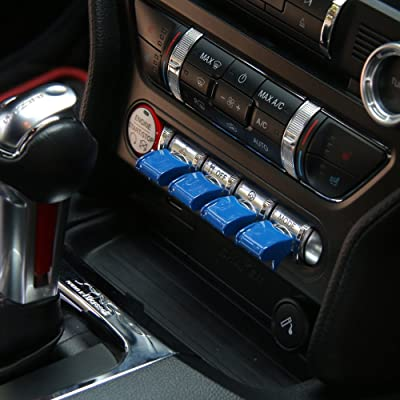 Engine Start/Stop Button Center Console Dashboard Button Switch Button Cover Trim for Ford Mustang 2015 2016 2020 (Blue Full): Industrial & Scientific