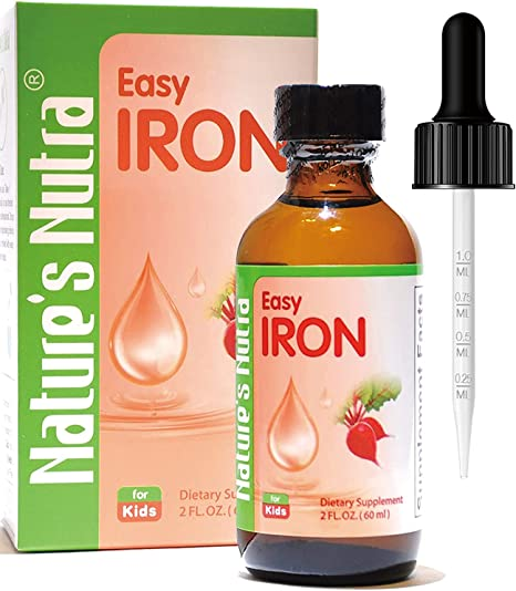 Liquid Iron Supplements Drops for Kids Toddlers Infants Anemia Vegan Organic High Potency by Nature's Nutra Sugar Free Orange Flavor 60 Servings