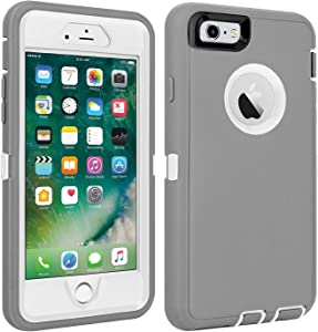 """CAFEWICH iPhone 6/6S Case Shockproof High Impact Tough Rubber Rugged Hybrid Case Silicone Triple Protective Anti-Shock Shatter-Resistant Mobile Phone Case for iPhone 6/6S 4.7""""(Gray-White)"""