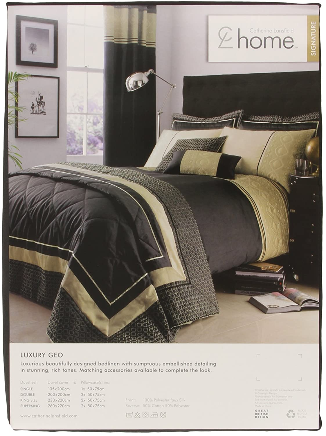Catherine Lansfield Luxury Geo Single Duvet Quiltset Natural ...