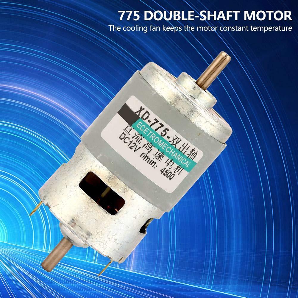 12V4500RPM-keine Klammer DC24V 12V 775 Motor 50W Hochleistungs-Doppelwellen-Gleichstrommotor mit gro/ßem Drehmoment f/ür DIY-Generator