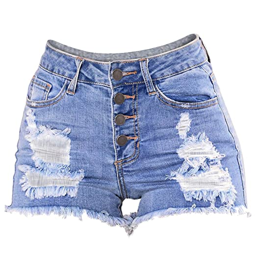 57ce1bf432f Amazon.com  Bookear High Waist Tassel Style Ripped Summer Jeans Shorts  Large Size Women Denim Shorts  Clothing