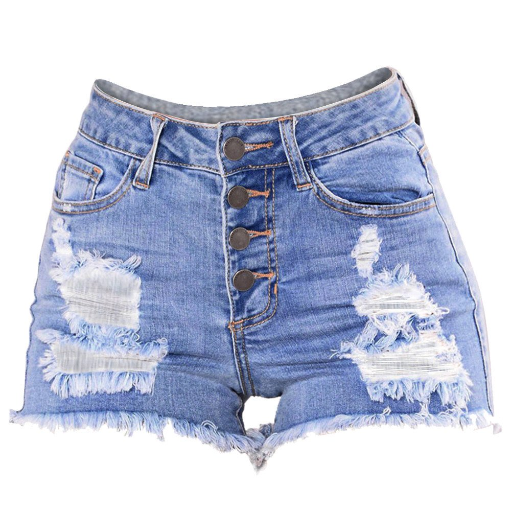 iLUGU Women Slim Washed Ripped Hole Short Mini Jeans wrangler jeans Denim Sexy Pants Shorts