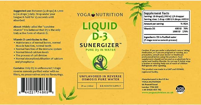 Vitamina Líquida D3 SUNERGIZER 60ml La vitamina del sol en agua pura sin ningún añadidos (1): Amazon.es: Salud y cuidado personal