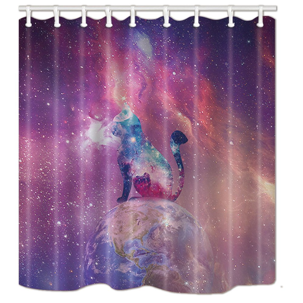 NYMB Space Nebula in the Cosmos Universe Galaxy, Cat Silhouette on Earth Solar Bath Curtain, Polyester Fabric Waterproof Shower Curtains, 69X70 in, Shower Curtain Hooks Included, Purple (Multi11)