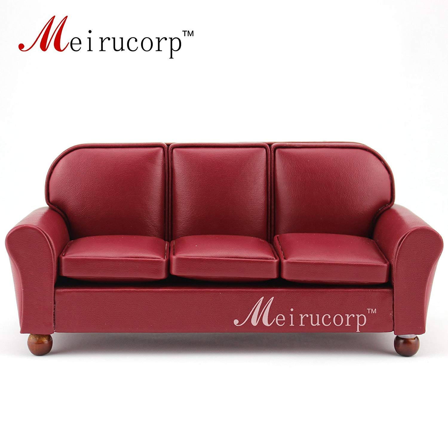 Dolls Furniture Fine 1 12 Scale Miniature Well Made Red Living Room Sofa