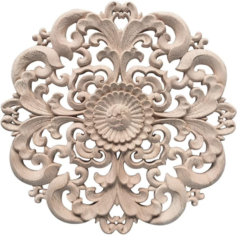Xinshun Wood Carved Applique Round Onlay Woodcarving Decal Unpainted for Home Furniture Decor #2