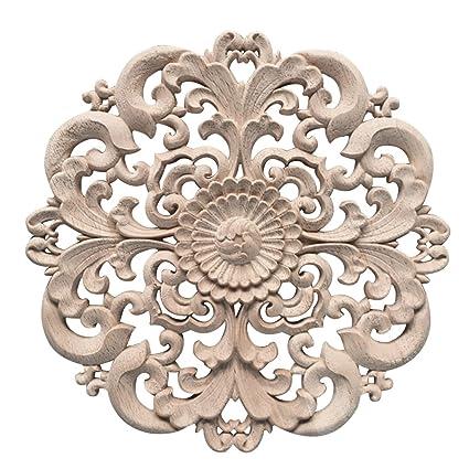 Jiyaru 1pc Wood Carved Flower Decal Unpainted Onlay Applique Furniture Decor 15cm 2
