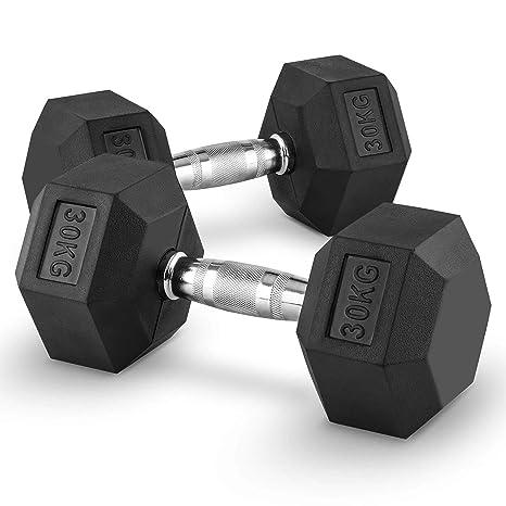 Capital Sports Hexbell Mancuernas gimnasio pesas de mano corta (peso 30kg, cabezales hexagonales,