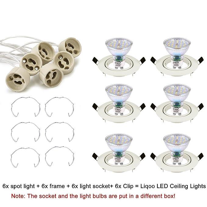 Liqoo Pack de 6 Foco Empotrable Led Gu10 Luz de Techo 6W equivalente a Halogeno 40W Incluye Bombilla GU10 Blanco Cálido 3000K 530Lm Ojos de Buey Marco ...