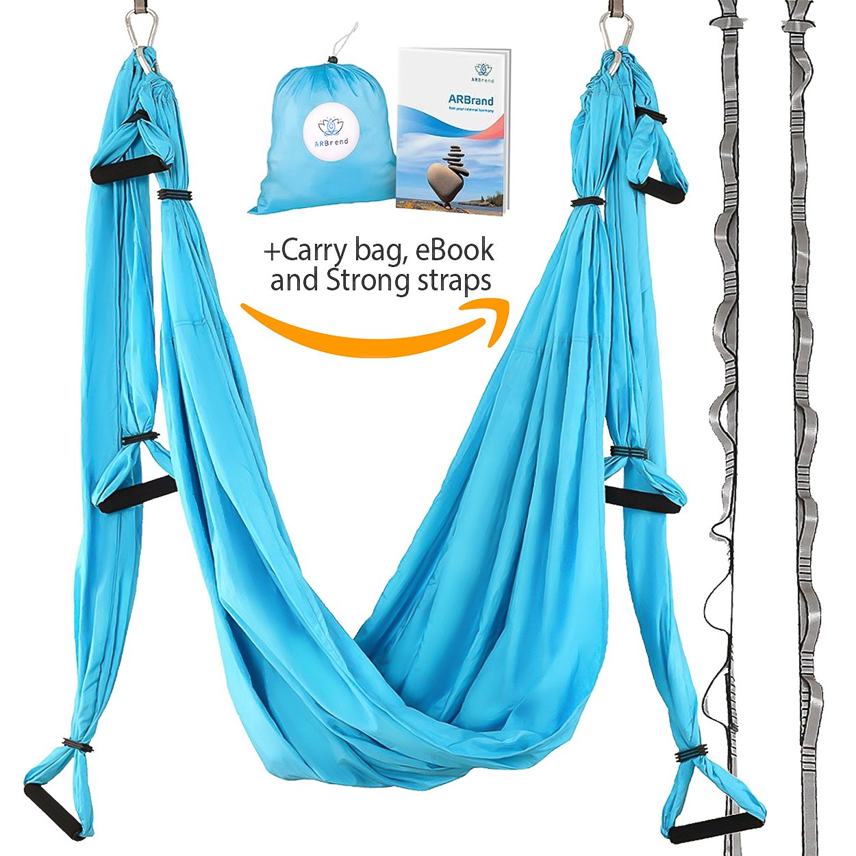 Yoga Swing – Antigravity Yoga Hammock – Aerial Trapeze – Sling – Inversion Tool for Back Pain Relief – 2 Hanging Straps – 4 Heavy Duty Carabiners – 6 EVA Handles and Beginner PDF Guide Included.