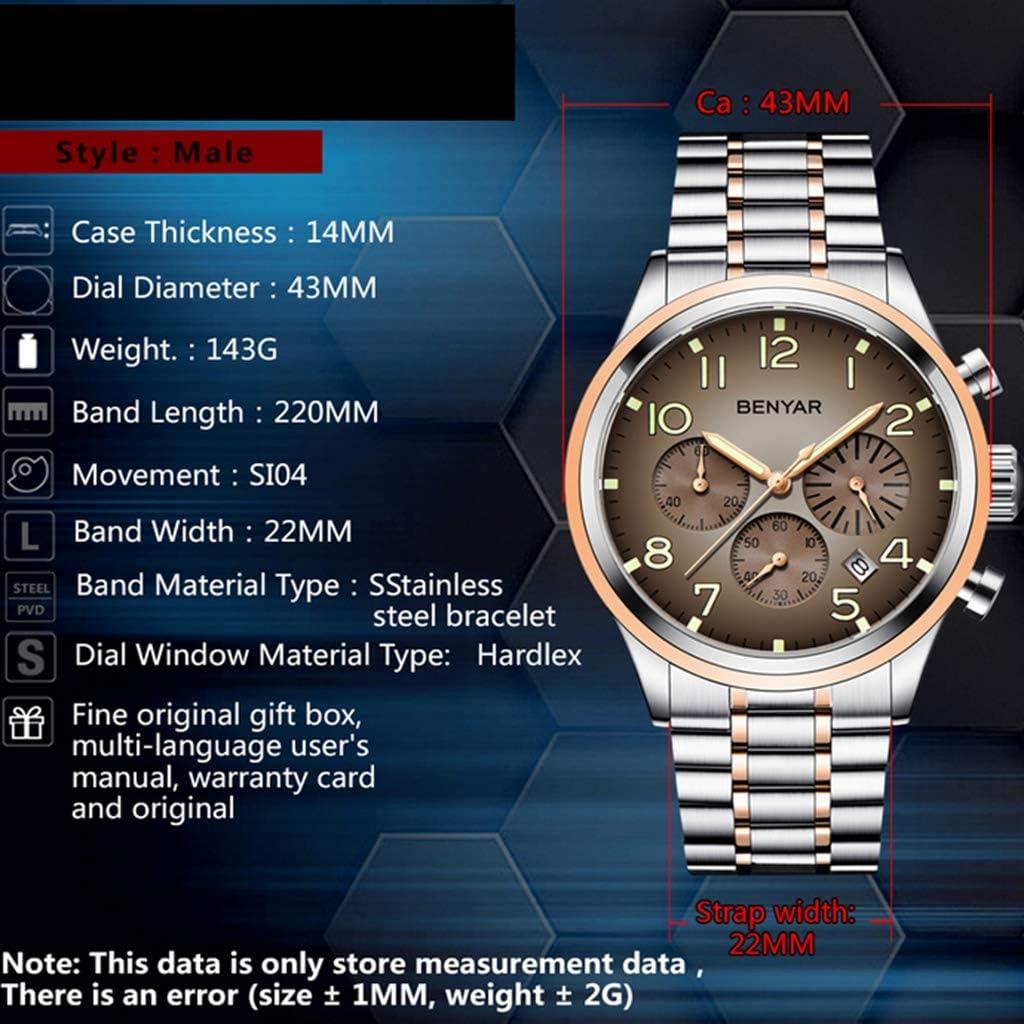 Orologio Al Quarzo Cinturino In Acciaio Inossidabile Orologio Multi-funzione Di Business D