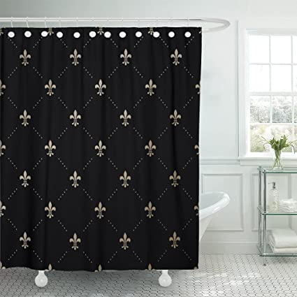 Emvency Shower Curtain French Gold Pattern With Fleur De Lis On Black King Flower Waterproof Polyester