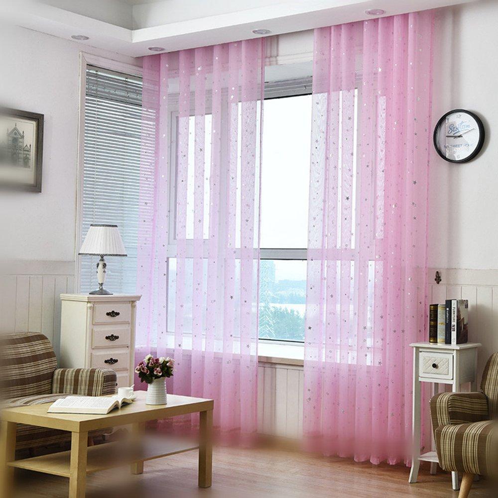 Kids Room Window Curtain Decoration Rod Pocket Process Multiple Sizes Star Voile Curtain/Drape(1 Panel)
