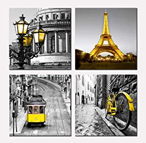 Eiffel Tower Canvas Wall Art - Paris Decor for Bedroom - Gray and Yellow Picture Painting on Canvas - Framed Artwork for Living Room Bedroom Office Home Decor